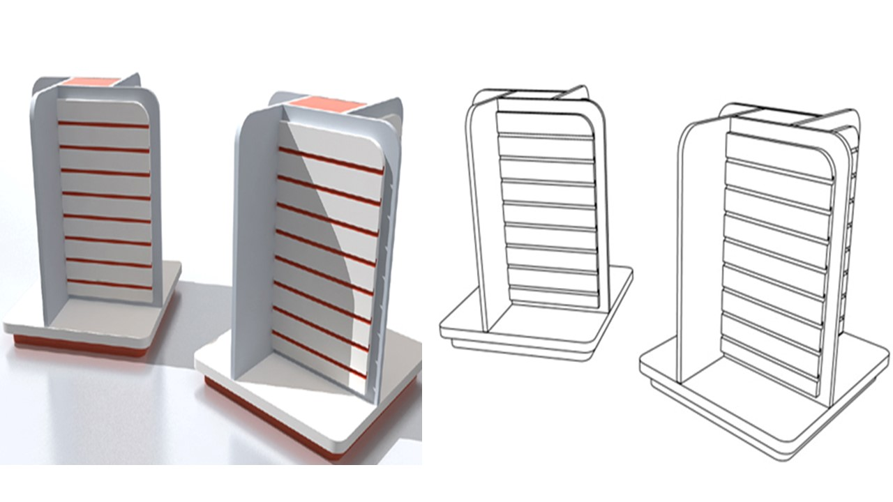 4-sided slatwall display stand
